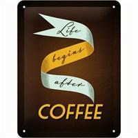 Nostalgic Art Life Begins After Coffee Metal Kabart Malı Pin Up Duvar Panosu (15 X 20 Cm)