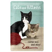 Nostalgic Art Cats And Kitten Metal Kabart Malı Duvar Panosu (20 X 30 Cm)