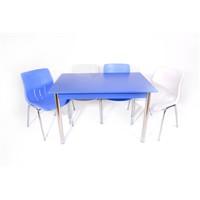 Mavi Mobilya Plastik Masa Takımı Prst001 4 Plastik Sandalyeli Mavi Beyaz