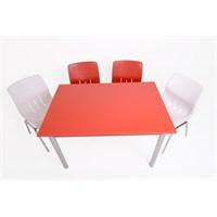 Mavi Mobilya Plastik Masa Takımı Prst005 4 Plastik Sandalyeli Kırmızı Beyaz