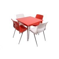 Mavi Mobilya Plastik Masa Takımı Prst017 4 Plastik Sandalyeli Kırmızı Beyaz