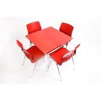 Mavi Mobilya Plastik Masa Takımı Prst018 4 Plastik Sandalyeli Kırmızı