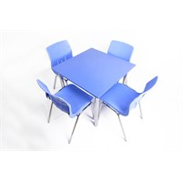 Mavi Mobilya Plastik Masa Takımı Prst021 4 Plastik Sandalyeli Mavi