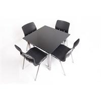 Mavi Mobilya Plastik Masa Takımı Prst025 4 Plastik Sandalyeli Siyah