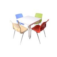 Mavi Mobilya Plastik Masa Takımı Prst028 4 Plastik Sandalyeli Çok Renkli