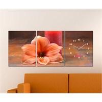 Tabloshop - Flower 3 Parçalı Canvas Tablo Saat - 96X40cm