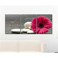 Tabloshop - Daisy & Pebbles 3 Parçalı Canvas Tablo Saat - 96X40cm