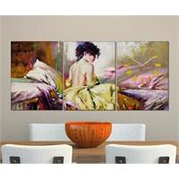 Tabloshop - Alone Women 3 Parçalı Canvas Tablo Saat - 96X40cm