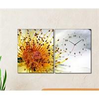 Tabloshop - Pollen 2 Parçalı Canvas Tablo Saat - 63X40cm