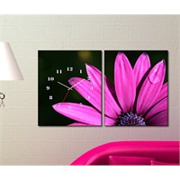 Tabloshop - Purple Daisy 2 Parçalı Canvas Tablo Saat - 63X40cm