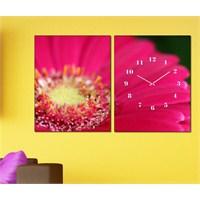 Tabloshop - Pink Flower 2 Parçalı Canvas Tablo Saat - 63X40cm