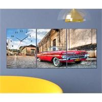 Tabloshop - Classic Car 3 Parçalı Canvas Tablo Saat - 96X40cm