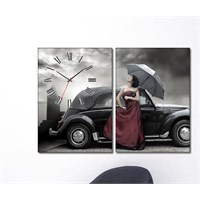 Tabloshop - Car & Women 2 Parçalı Canvas Tablo Saat - 63X40cm