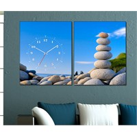 Tabloshop - Stone 2 Parçalı Canvas Tablo Saat - 63X40cm