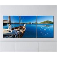 Tabloshop - Sea 3 Parçalı Canvas Tablo Saat - 96X40cm
