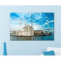 Tabloshop - Ortaköy I 2 Parçalı Canvas Tablo Saat - 63X40cm