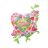 KullanAtMarket Çiçek Bahçesi Kalp Folyo Balon 79 Cm X 104 Cm 1 Adet
