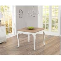 Woodenbend Lyon Eskitilmiş Beyaz Masa 90*90