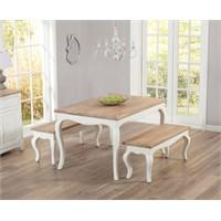 Woodenbend Lyon Eskitilmiş Beyaz Masa 80*120 2 Adet Bench
