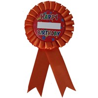 Pandoli Happy Birthday Yazılı İsme Özel Rozet Turuncu
