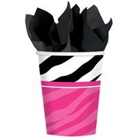 Pandoli Siyah Zebra Partisi Bardak 8 Adet