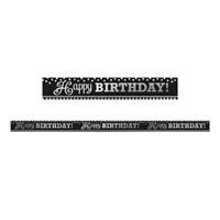 KullanAtMarket Siyah Beyaz Happy Birthday Folyo Afis 1 Adet