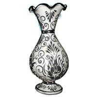 Bk 30Cm Beyaz Sümbül Çini Vazo