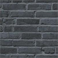 Garaj 94283-3 Siyah Tuğla Görünümlü İthal Duvar Kağıdı