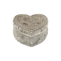 Çağ Deccor Gümüş Küçük Kalpli Telkari Mücevher Kutusu
