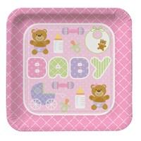 KullanAtMarket Pembe Bebek Ayıcık Karton Tabak 8 Adet