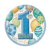KullanAtMarket 1 Yaş Erkek Doğum Günü Balonlu Tabak 8 Adet