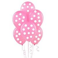 Parti Şöleni Pembe Üzerine Beyaz Puanlı Balon 20 Adet