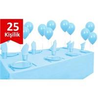 Parti Şöleni Açık Mavi Plastik 25 Kişilik Set