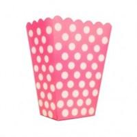 Parti Şöleni Fuşya Puanlı Popcorn Kutusu 8 Adet
