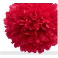 Parti Şöleni Ponpon Çiçek Süs Kırmızı 1 Adet
