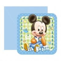 Parti Şöleni Baby Mickey Mouse İlk Yaşım Davetiye