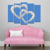 Canvastablom B54 Kalp Şeklinde Bulut Parçalı Kanvas Tablo
