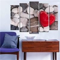 Canvastablom B162 Kalp Şeklinde Kırmızı Taş Parçalı Kanvas Tablo