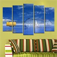 Canvastablom B176 Şişe İçinde Yelkenli Parçalı Tablo