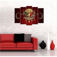 Canvastablom Osmanlı Arması 5 Parçalı Kanvas Tablo