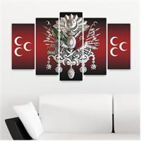 Canvastablom Osmanlı Arması 5 Parçalı Canvas Tablo