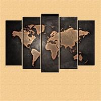 Canvastablom Coffee Harita Dekoratif Parçalı Tablo