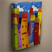 Canvastablom T58 Renkli Evler Canvas Tablo