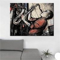 Canvastablom T217 Saksafon Çalan Adam Kanvas Tablo