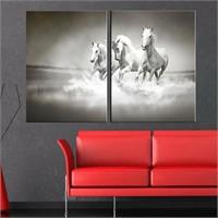 Canvastablom İ189 Siyah Beyaz Atlar Parçalı Tablo