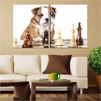 Canvastablom İ210 Köpek Ve Satranç Parçalı Tablo
