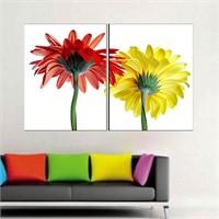 Canvastablom İ56 Sarı Kırmızı Çiçekler Kanvas Tablo