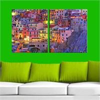 Canvastablom İ101 Renkli Binalar Parçalı Tablo