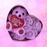 Sevgiliye Romantik Hediye Sevimli Ayıcık Pembe Kalp