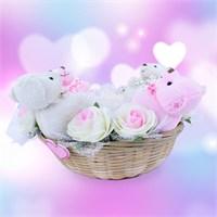 Doğum Günü Hediyesi Ayıcık Pembe Beyaz Gül Sepeti